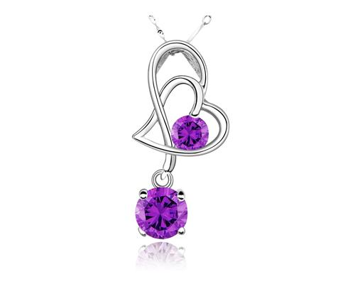 Elegant 925 Sterling Silver Bling Crystal Heart Necklace - Purple