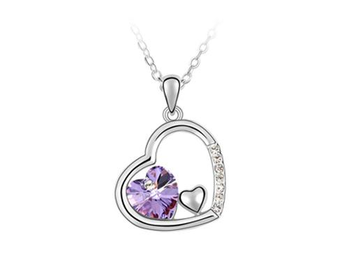 Unique Deep In Heart Crystal Necklace - Purple