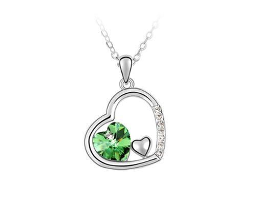 Unique Deep In Heart Crystal Necklace - Green