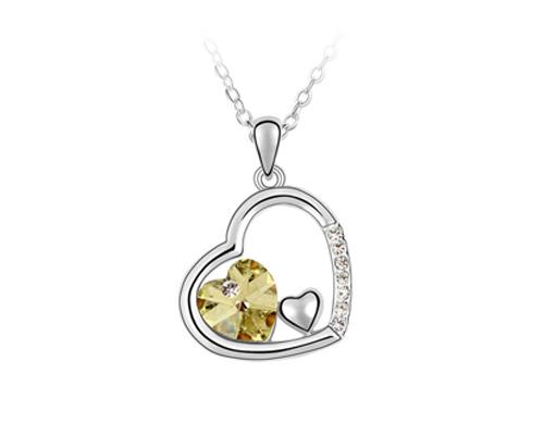 Unique Deep In Heart Crystal Necklace - Yellow