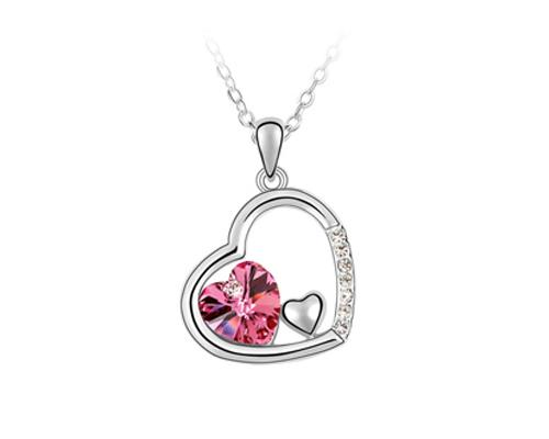 Unique Deep In Heart Crystal Necklace - Magenta