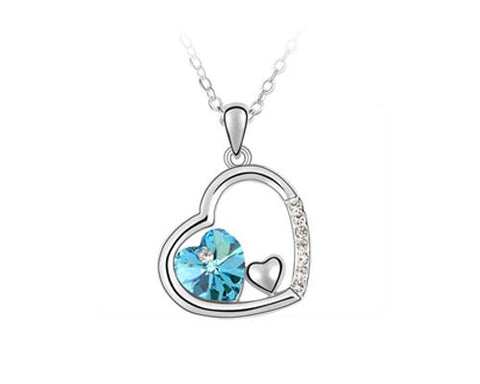 Unique Deep In Heart Crystal Necklace - Light Blue