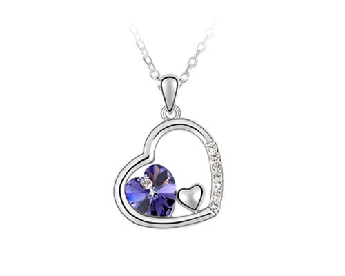 Unique Deep In Heart Crystal Necklace - Dark Purple