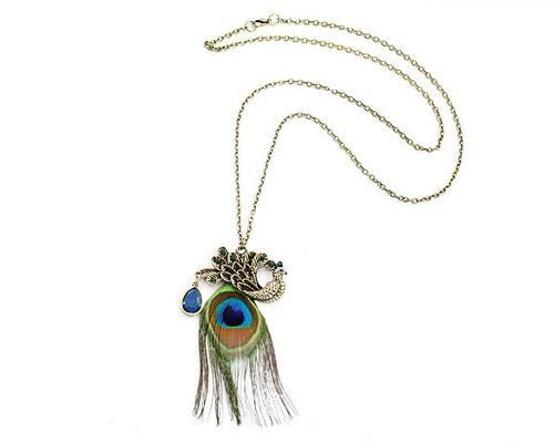 Bohemian Peacock Feather Necklace