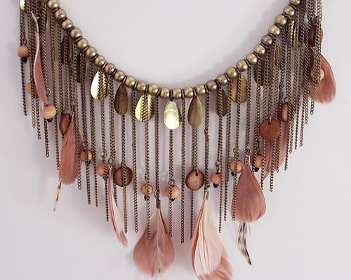 Bohemian Feather Copper Bead Necklace
