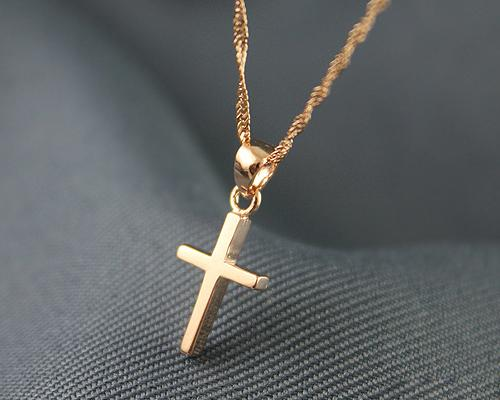 925 Sterling Silver Cross Necklace - Rose Gold