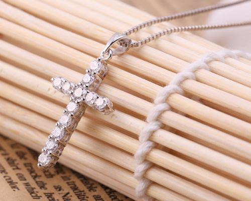 Adorable 925 Sterling Silver Cross Crystal Necklace