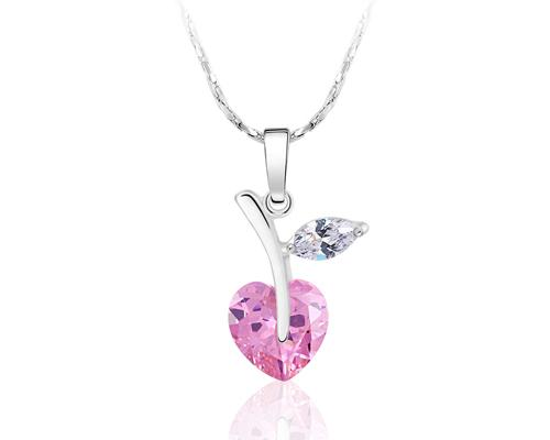 Lovely Heart Apple Bling Crystal Necklace - Pink