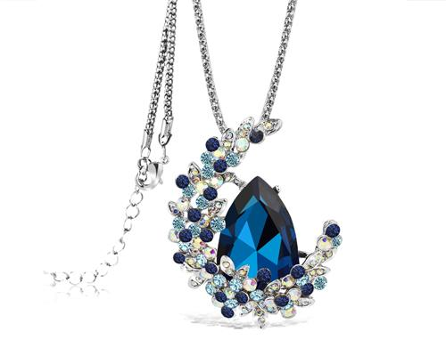 Treasure on the Moon Bling Crystal Long Necklace - Blue