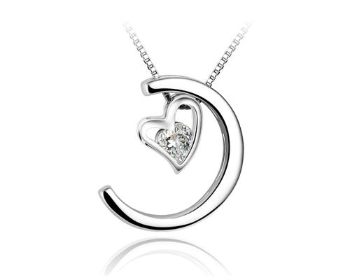 Moon and Heart 925 Sterling Silver Crystal Necklace - Silver