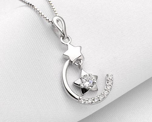 Twinkle Star and Moon 925 Sterling Silver Crystal Necklace - Silver
