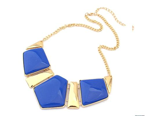 Elegant Geometric Polygon Resin Necklace - Blue