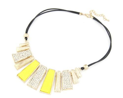 Stylish Glazed Rectangle Leather Necklace - Yellow