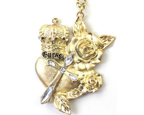 Vintage Rose Prince Crystal Necklace - Gold