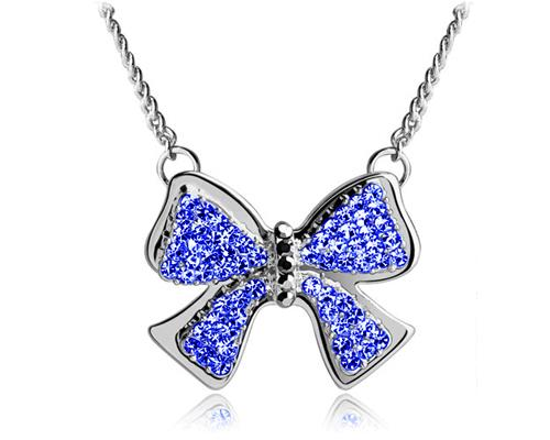 Noble Bow-knot Silver Crystal Necklace - Deep Blue