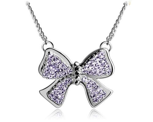Noble Bow-knot Silver Crystal Necklace - Purple