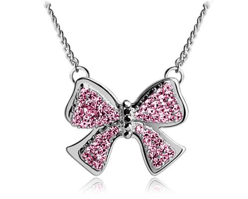Noble Bow-knot Silver Crystal Necklace - Magenta