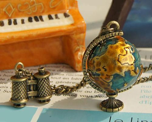 Vintage Charm Long Necklace Gold Tone Telescope Globe Pendant Jewelry