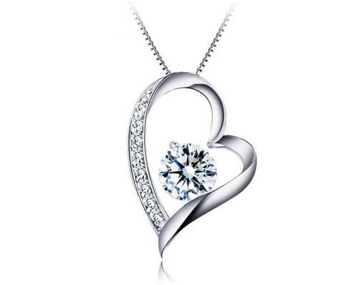 925 Sterling Silver Necklace with Heart Pendant