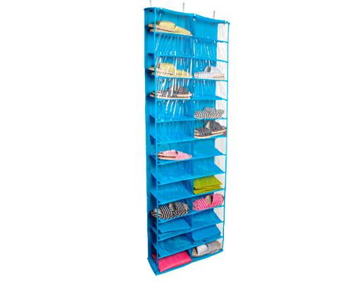 26 Pockets Foldable Over the Door Shoe Rack Storage Organizer - Blue