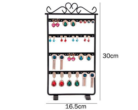 Elegant Metal Jewelry Earring Organizer Stand - Black