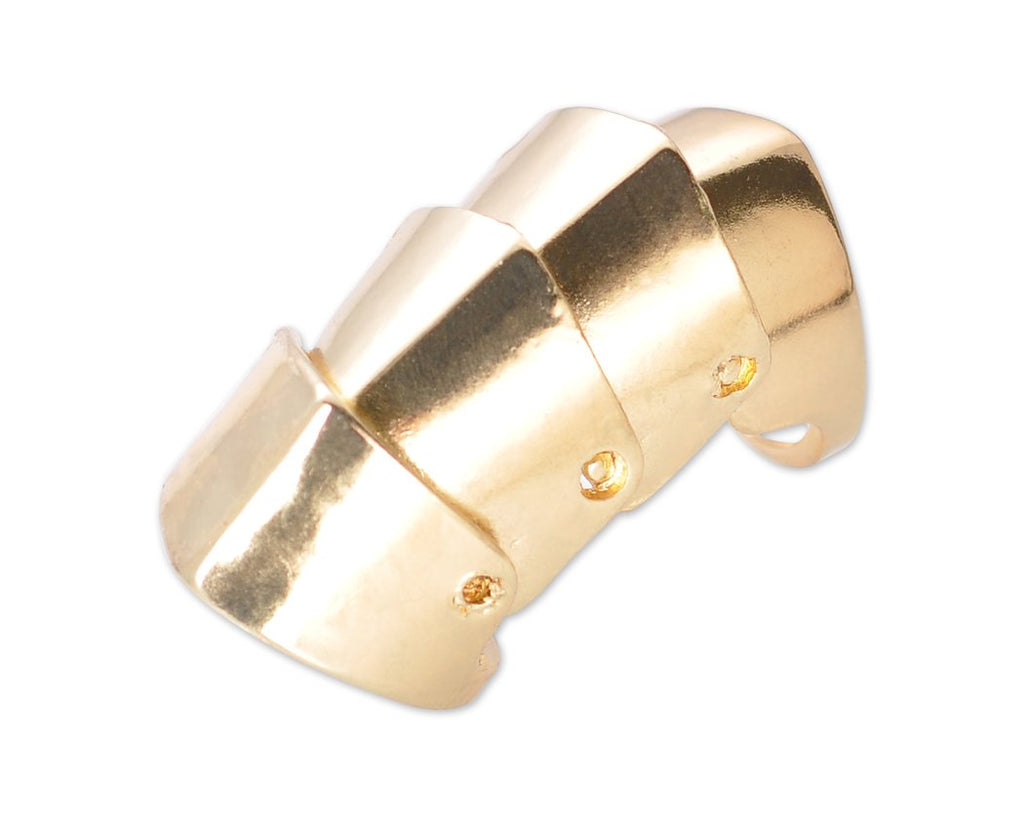 Unisex Punk Gothic Joint Hinged Full Knuckle Armor Finger Ring - Gold