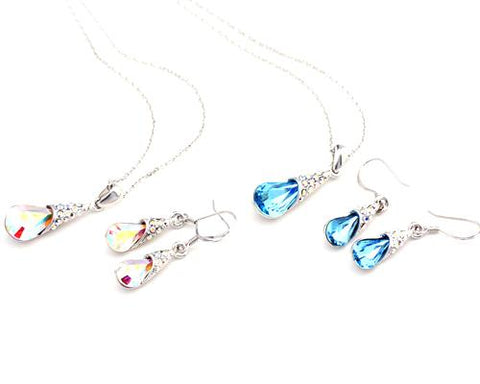 Teardrop Bling Crystal Jewelry Set - Color White