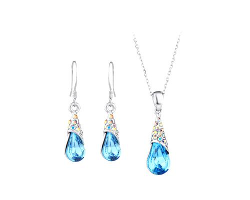 Teardrop Crystal Earring and Necklace Jewelry Set - Blue