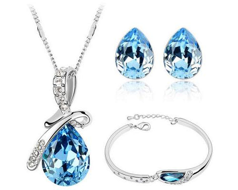 Teardrop Series Blue Crystal Jewelry Set