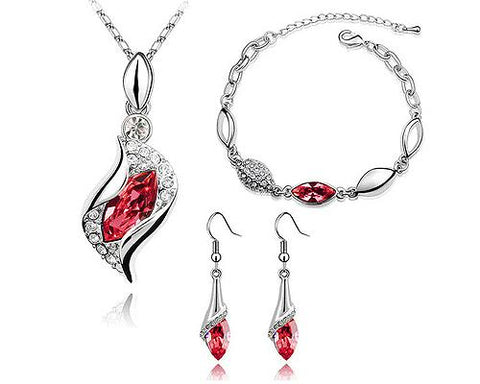 Classic Series Crystal Jewelry Set - Red