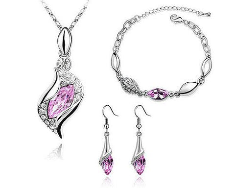 Classic Series Crystal Jewelry Set - Pink
