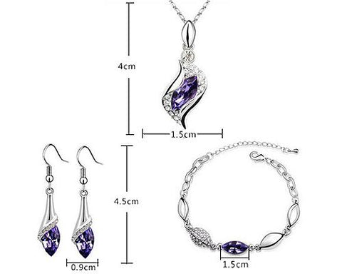 Classic Series Crystal Jewelry Set - Purple