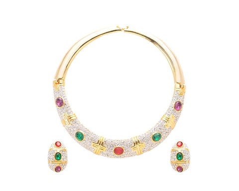 Dazzling Circle Gold Necklace and Earring Jewelry Set