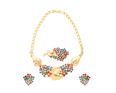 Colorful Crystal Flower Brooch and Earrings and Necklace Jewelry Set