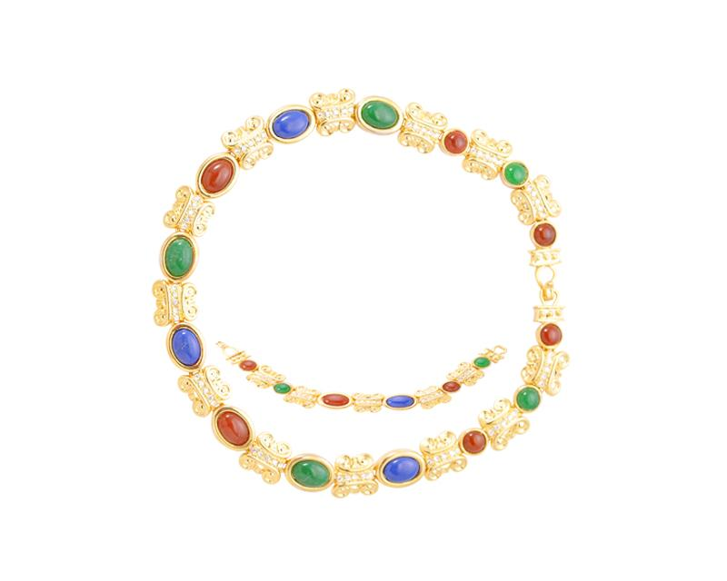 Vintage Colorful Crystal Bracelet and Necklace Jewelry Set