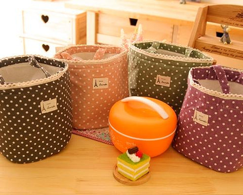 Insulated Thermal Drawstring Closure Dot Picnic Lunch Bag