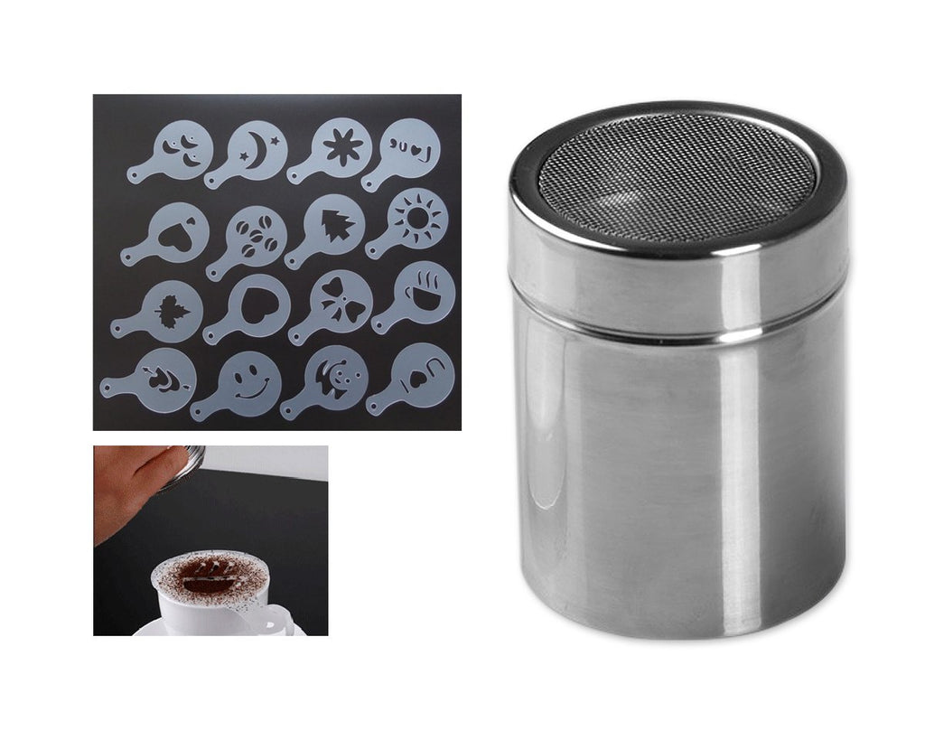 Stainless Steel Powder Shaker with 16 Pcs Cappuccino Coffee Stencils