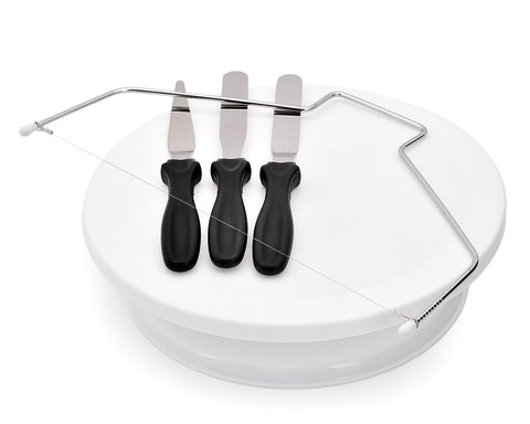 Turntable with 3 Palette Knives and Cutting Wire Cake Decorating Tool Set