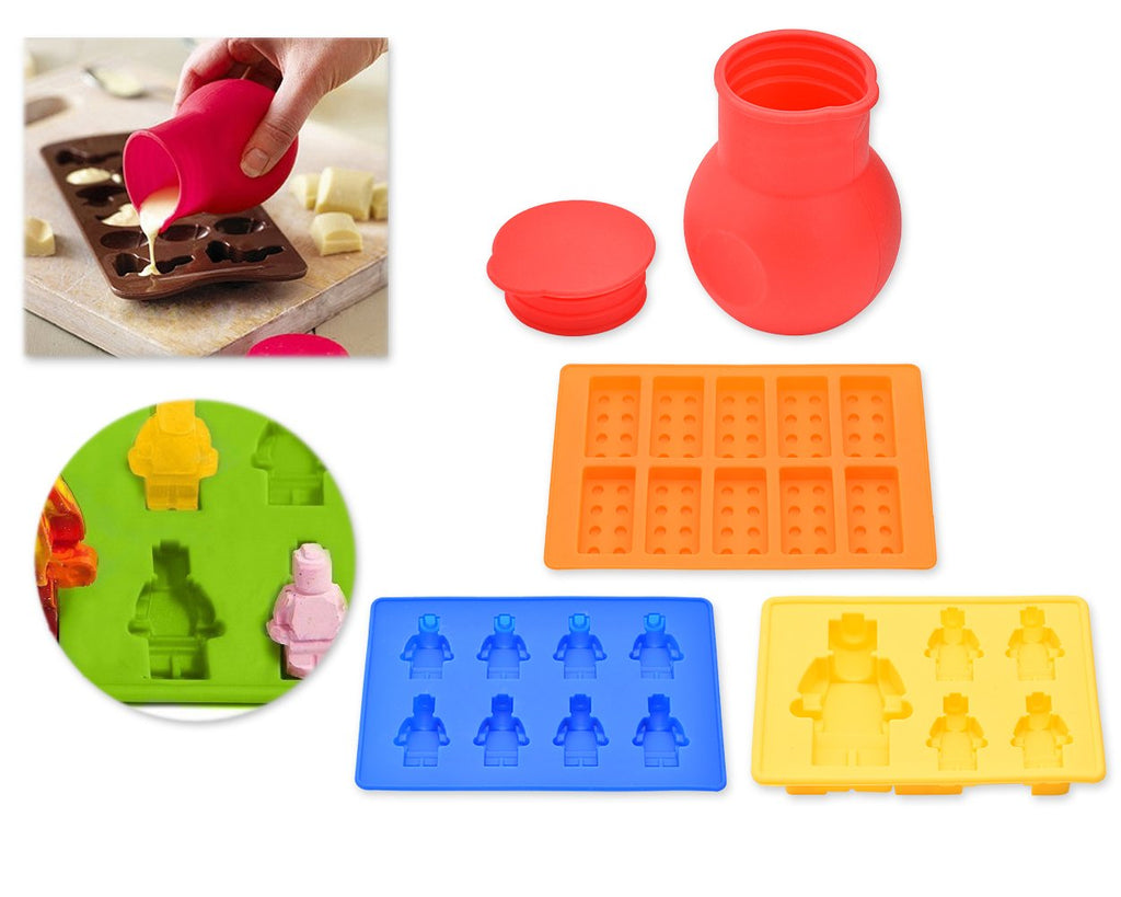 Minifigures (Not Lego) & Blocks Silicone Bakeware Mold Melting Pot Set