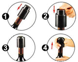 One-Handed Wine Vacuum Stopper - Black