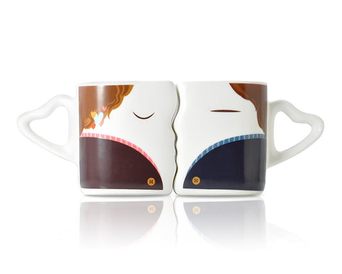 Sweet Kiss Series Color Changing Couple Coffee Mugs
