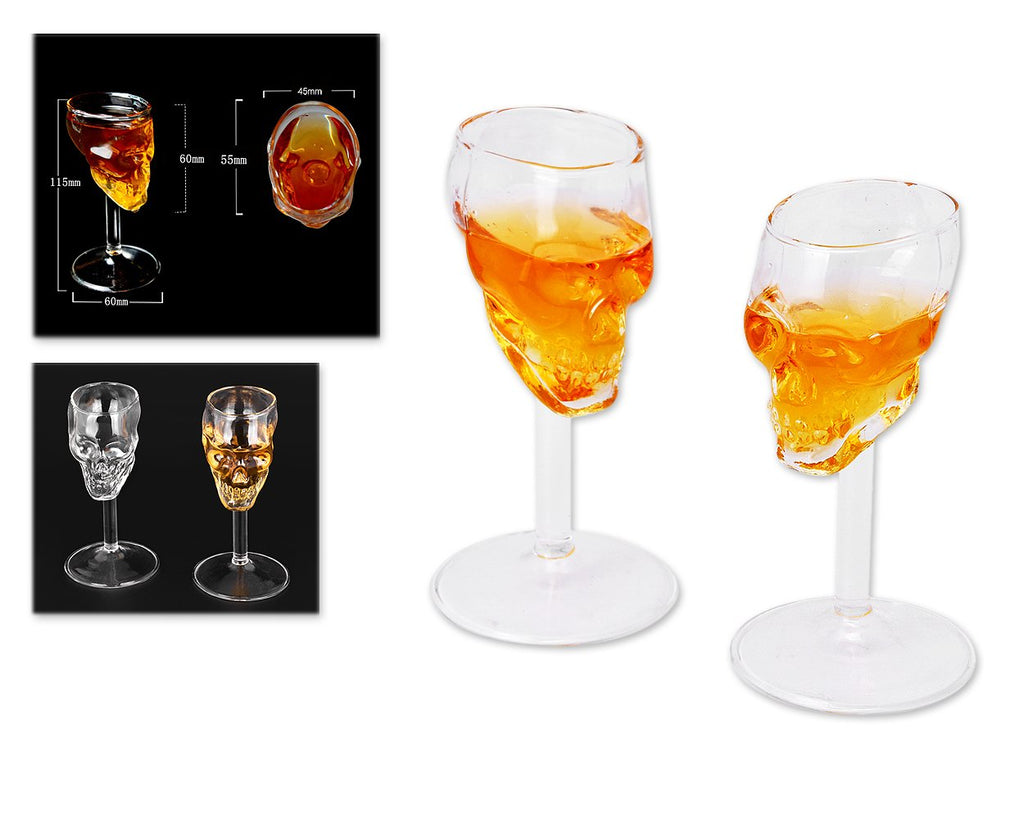 "Skull Shot Glass 2 Pieces 75 Milliliter / 2.5 Ounce Whiskey Wine Glass 4.5"" Beer Cup"