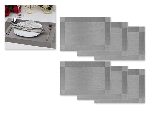 6 Pcs 30cm x 45cm PVC Insulated Stain Free Table Placemat - Gray