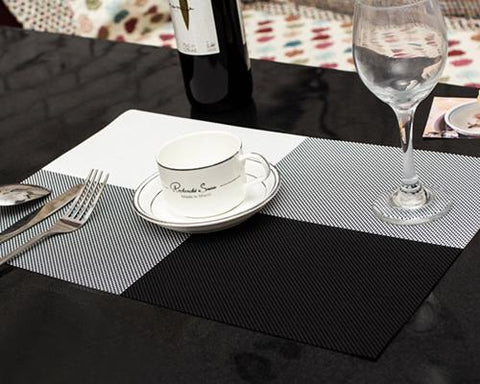 6 Pcs Colorful Insulated Stain Free Table Placemat - Black