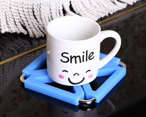 Modern Foldable Heat Resistant Silicone Table Drink Coaster - Blue