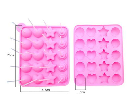 Silicone Multi Shapes Baking Mold with Sticks - Pink