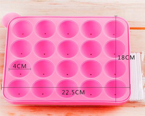 Silicone Ball Shapes Baking Mold with Sticks - Pink