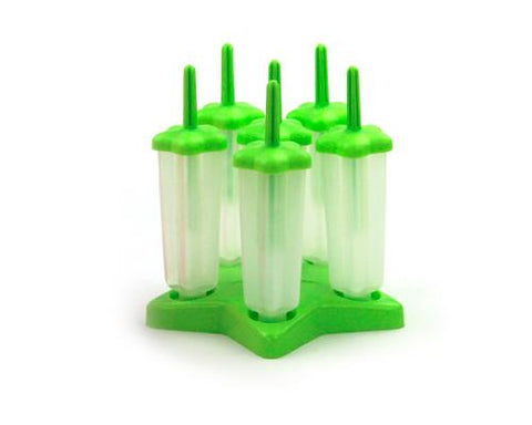 Reusable Star Shaped Ice Pop Molds Tray Set of 6 - Green