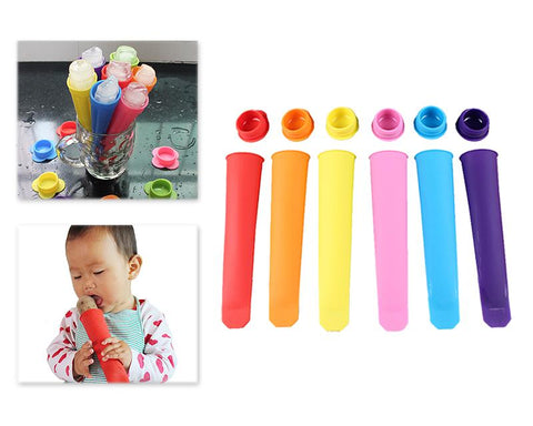 6 Pcs Silicone Ice Popsicle Maker with Round Shaped Caps