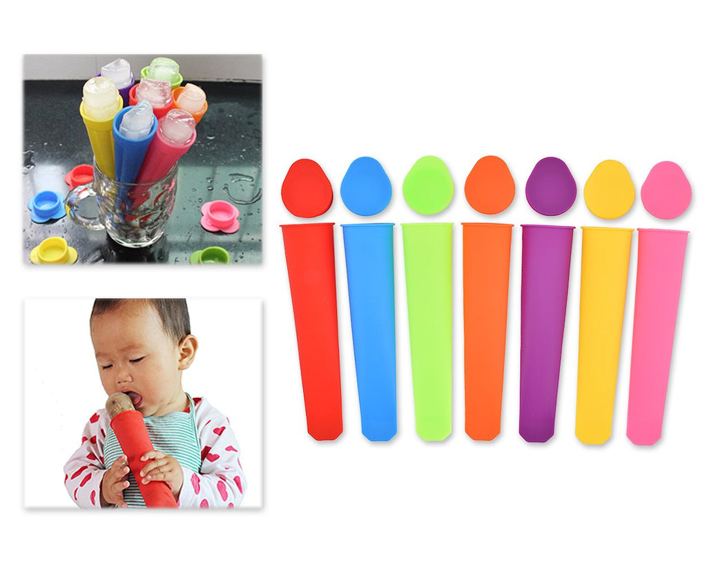 7 Pcs Silicone Ice Popsicle Maker with Flower Shaped Caps